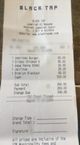 Black Tap invoice